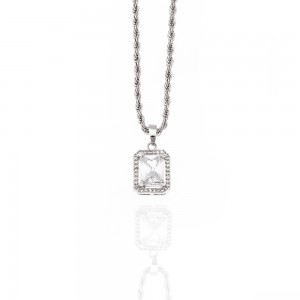 Necklace-Single Stone from Silver to Silver AJ (KK0293A)