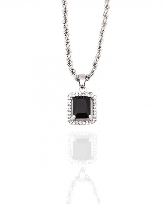 Necklace-Single Stone from Steel to Silver AJ (KK0294A)