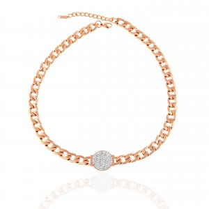 Women Necklace with Steel Stones in Rose Gold AJ(KK0296RX)