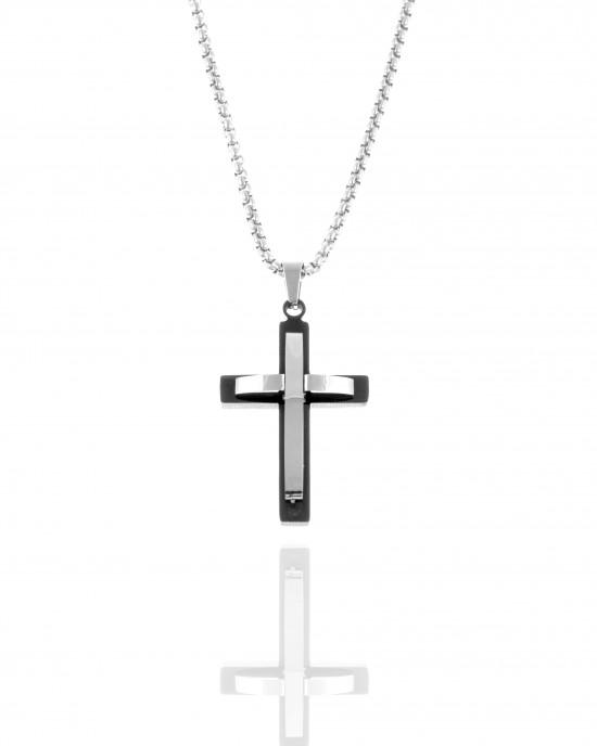 Men's Cross with Steel Chain in Silver AJ (KK0299A)