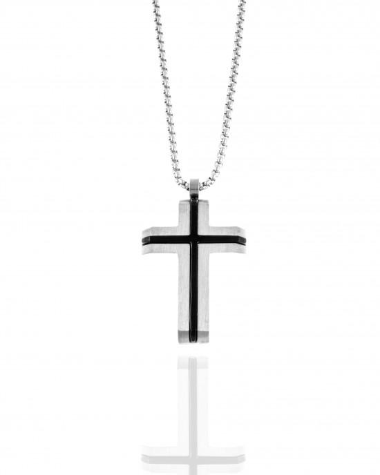 Men's Steel Cross with Chain in Silver AJ (KK0300A)