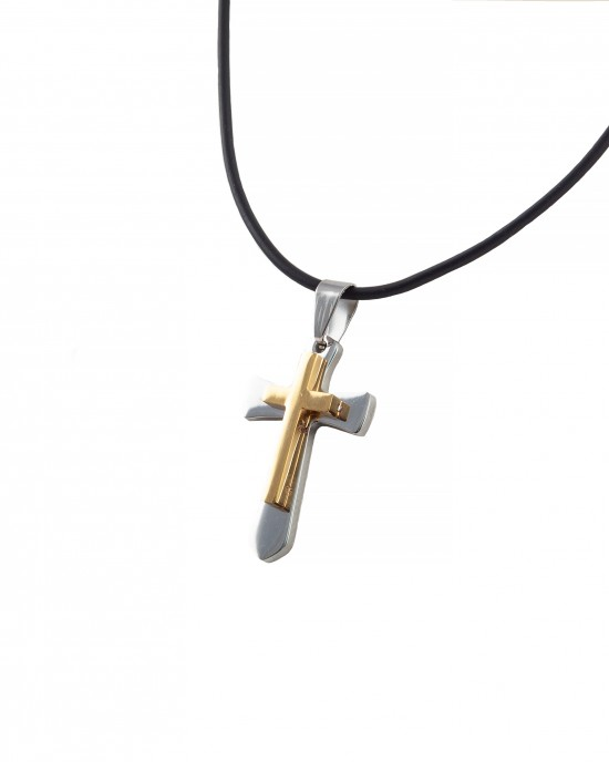 Men's double cross made of surgical steel