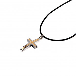 Men's cross made of stainless steel with gold plated