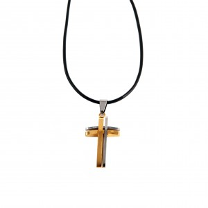 Male cross made of hypoallergenic steel with gold plated AJ(KKA0071)