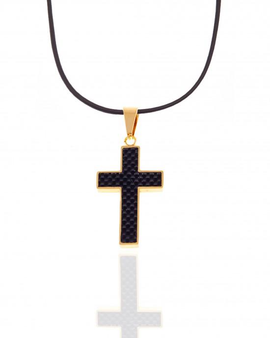 Men's Steel Cross with Cord in Gold AJ (KK0087AX)