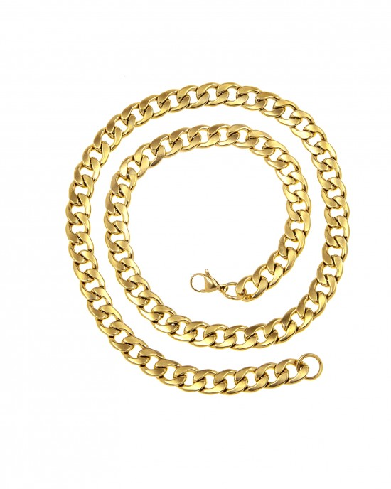 Stainless Steel Necklace in Yellow Gold Chain AJ (KKA0093X)
