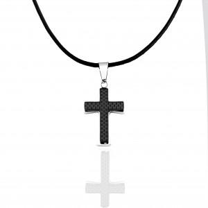 Men's Cross from Stainless Steel in Silver AJ (KKA0095A)