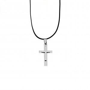 Men's Stainless Steel Cross in Silver AJ (KKA0098A)