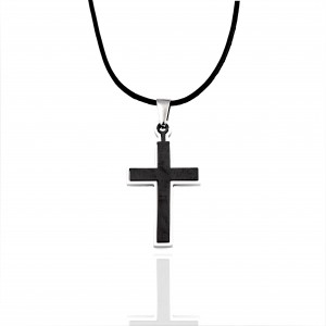 Men's Stainless Steel Cross in Silver AJ (KKA0098A)