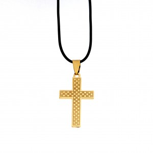 Men's Steel Cross in Yellow Gold AJ (KKA0098X)