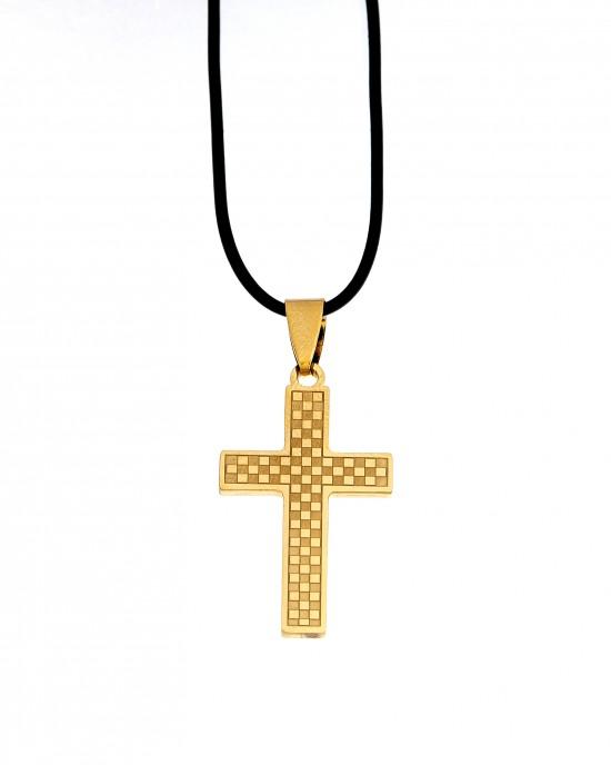 Men's Steel Cross in Yellow Gold AJ (KKA0098X)