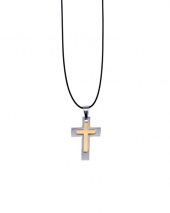 Men's Bicolor Cross from Steel AJ (KKA0100A)