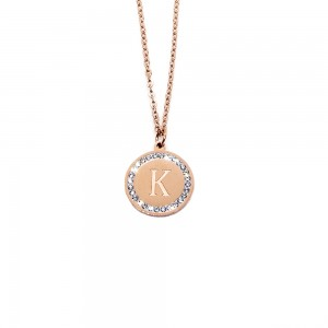 Women's Necklace with Monogram K in Pink Gold made of Steel with Zircon Stones AJ (KM0069RX)