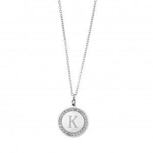 Women's Necklace with Monogram K in Steel Silver Color with Zircon Stones AJ (KM0070A)