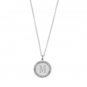 Women's Necklace with Monogram M in Steel Silver Color with Zircon AJ Stones (KM0072A)