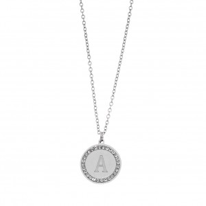 Women's Necklace with Monogram A in Silver Color with Zircon AJ Stones (KM0073A)