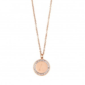 Necklace-Monogram L from Surgical Steel in Rose Gold AJ (KM0076RX)