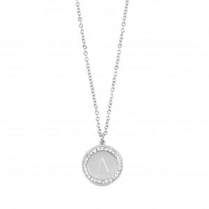 Monogram L Necklace from Steel in Silver AJ (KM0077Α)