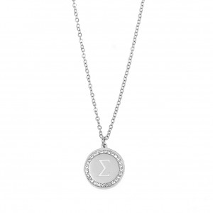 Women's Monogram s Necklace from Steel to Silver with Stones AJ (KM0080A)