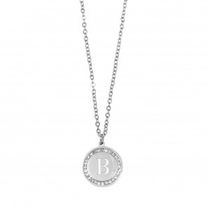 Women's Monogram B Necklace from Steel to Silver with Stones AJ (KM0082A)
