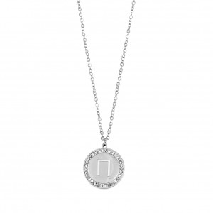Women's Monogram P Necklace from Steel to Silver with Stones AJ (KM0083A)