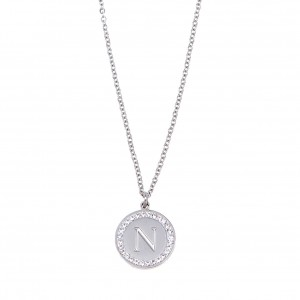 Women's Monogram N Necklace from Steel to Silver with Stones AJ (KM0084A)