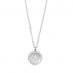 Women's Monogram D Necklace from Steel to Silver with Stones AJ (KM0085A)