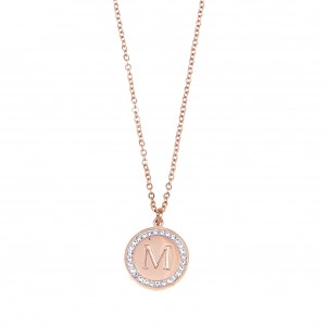 Women's Monogram M Necklace from Steel in Pink Gold with Stones AJ (KM0086RX)