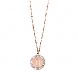 Women's Monogram B Necklace from Steel to Pink  Gold with Stones AJ (KM0087RX)