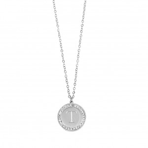 Women's Monogram Necklace from Steel to Silver with Stones AJ (KM0088A)