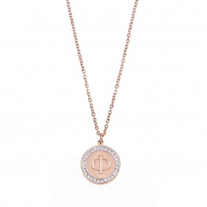 Women's Monogram Necklace F from Steel to Pink Gold with Stones AJ (KM0089RX)
