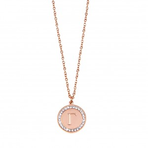 Women's Monogram G Necklace from Steel to Pink Gold with Stones AJ (KM0090RX)