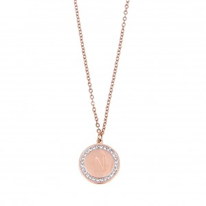 Women's Monogram N Necklace from Steel to Pink Gold with Stones AJ (KM0093RX)
