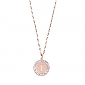 Women's Monogram T Necklace from Steel to Pink Gold with Stones AJ (KM0094RX)