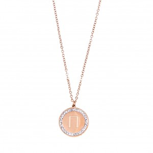 Women's Monogram P Necklace in Steel in PINK Gold with Stones AJ (KM0095RX)