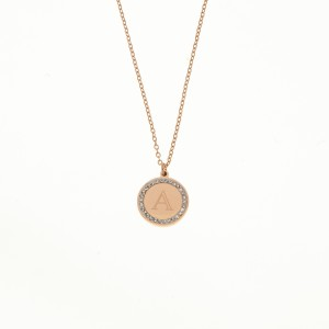 Necklace A Steel Monogram with Stones in Rose Gold AJ (KM0096RX)