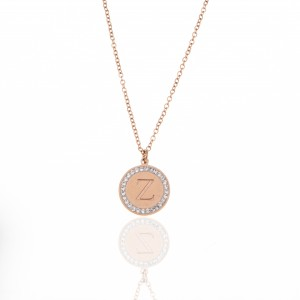 Monogram Z Necklace from Steel to Pink Gold AJ (KM0097RX)
