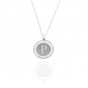 Necklace-Monogram P from Steel to Silver AJ (KM0098A)