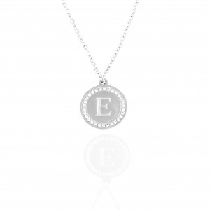 Necklace-Monogram E from Steel to Silver AJ (KM0100A)