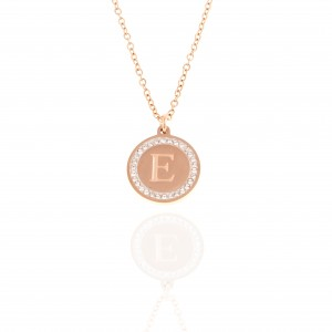 Necklace-Monogram E from Steel in pink Gold AJ (KM0100RX)