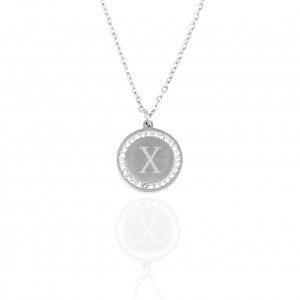 Women's Monogram X Necklace from Steel to Silver with Stones AJ (KM0101A)