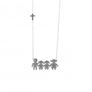 Necklace Family Mom-Dad-Girls from Steel in Silver AJ (KO.0068A)