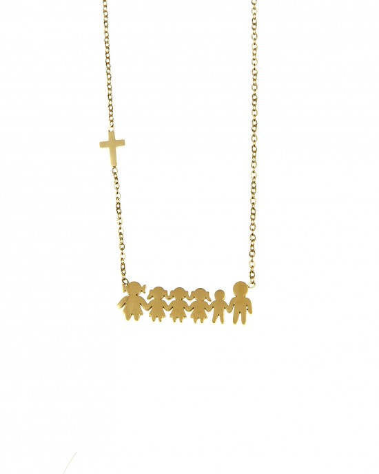 Necklace Steel Family in Yellow Gold AJ (KO.0076X)