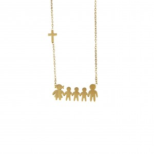 Necklace Steel Family in Yellow Gold AJ (KO.0079X)