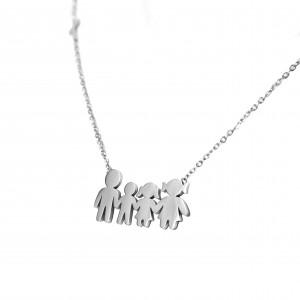 Women's Steel Family Necklace in Silver Color AJ (KO.0001Α)