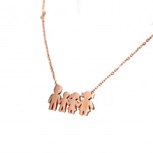 Women's Steel Family Necklace in Pink Gold AJ Color (KO.0003RX)