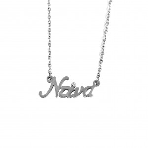Women's Necklace Name Dina from Steel in Silver AJ (KO0019A)