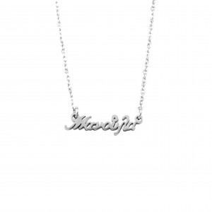 Women's Necklace Name Manoula from Steel in Silver AJ Color (KO.0020A)