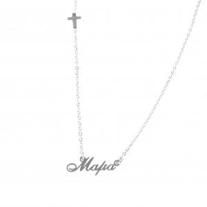 Steel Women's Mama Necklace in Silver AJ Color (K.O0021A)