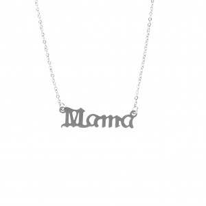 Women's Necklace Name Mama made of Steel in silver color AJ (KO.0022A)